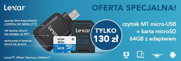 OFERTA SPECJALNA: karta microSD 64GB + czytnik Lexar M1 za 1 zł